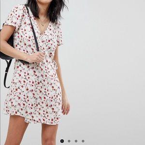 ASOS Honey Punch Wrap Dress In All Over Rose Print